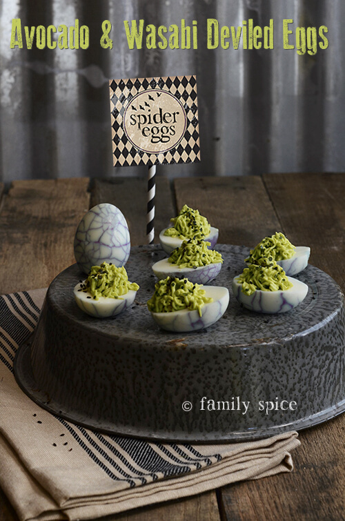 Spider Eggs: Avocado and Wasabi Deviled Eggs by FamilySpice.com