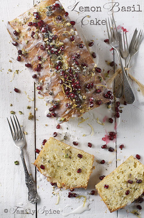 Olive Oil Lemon Cake with Basil and Pomegranate by FamilySpice.com