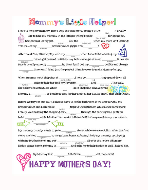 Mother's Day Mad Libs Free Printable Family Spice