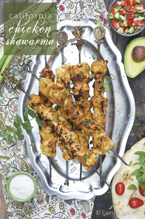 The California Grilled Chicken Shawarma with avocados and @HVRanch Garlic Dressing - by FamilySpice.com