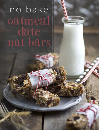 Easy, No Bake Oatmeal Date Nut Bars