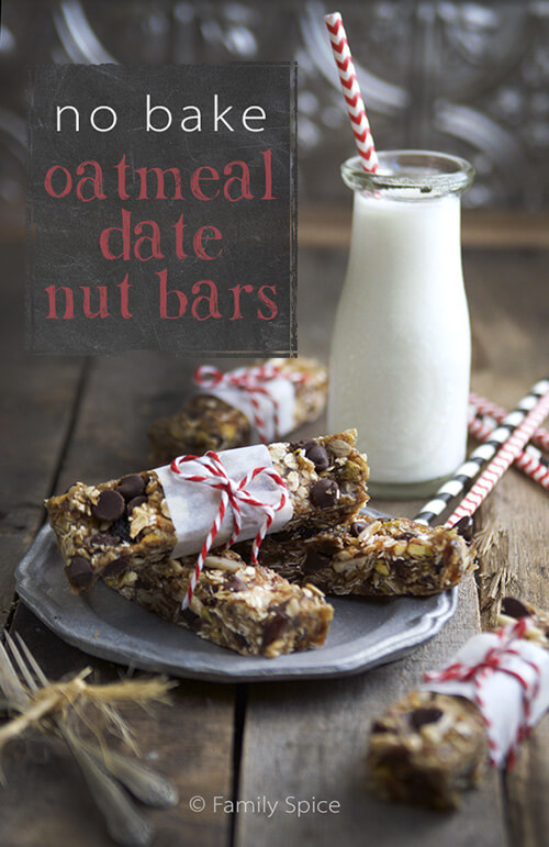 Easy, No Bake Oatmeal Date Nut Bars by FamilySpice.com