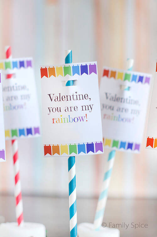 Rainbow Marshmallow Pops with Free Rainbow Valentine Printable by FamilySpice.com