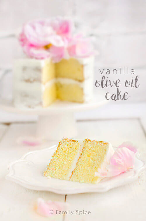 Save your butter for the frosting! You won't miss it in this moist and fluffy olive oil cake - by FamilySpice.com