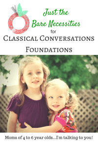 Just the Bare Necessities for Classical Conversations Foundations program