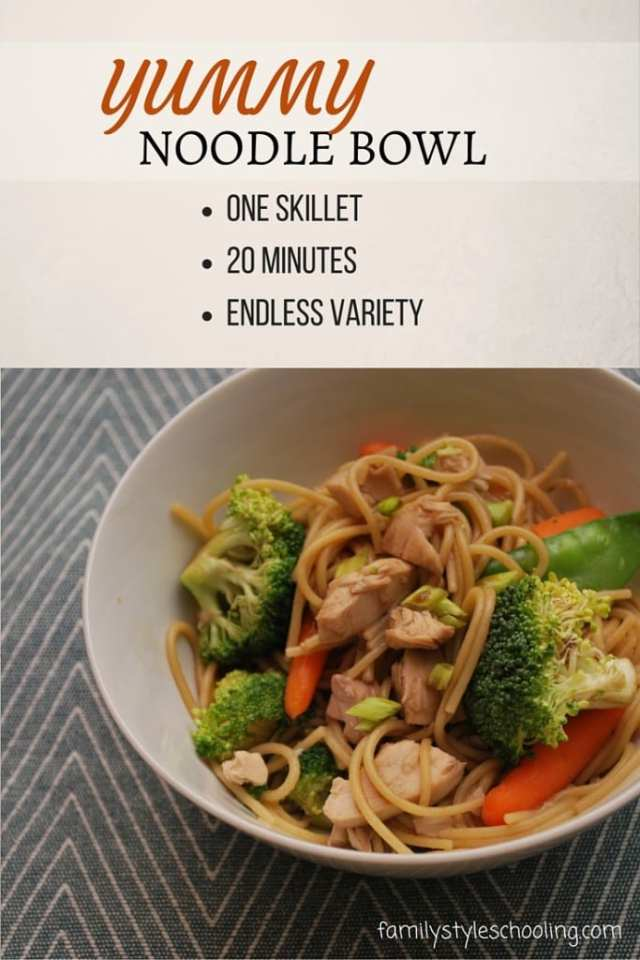One skillet yummy noodle bowl