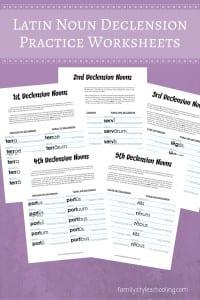 Latin Noun Declension Worksheets