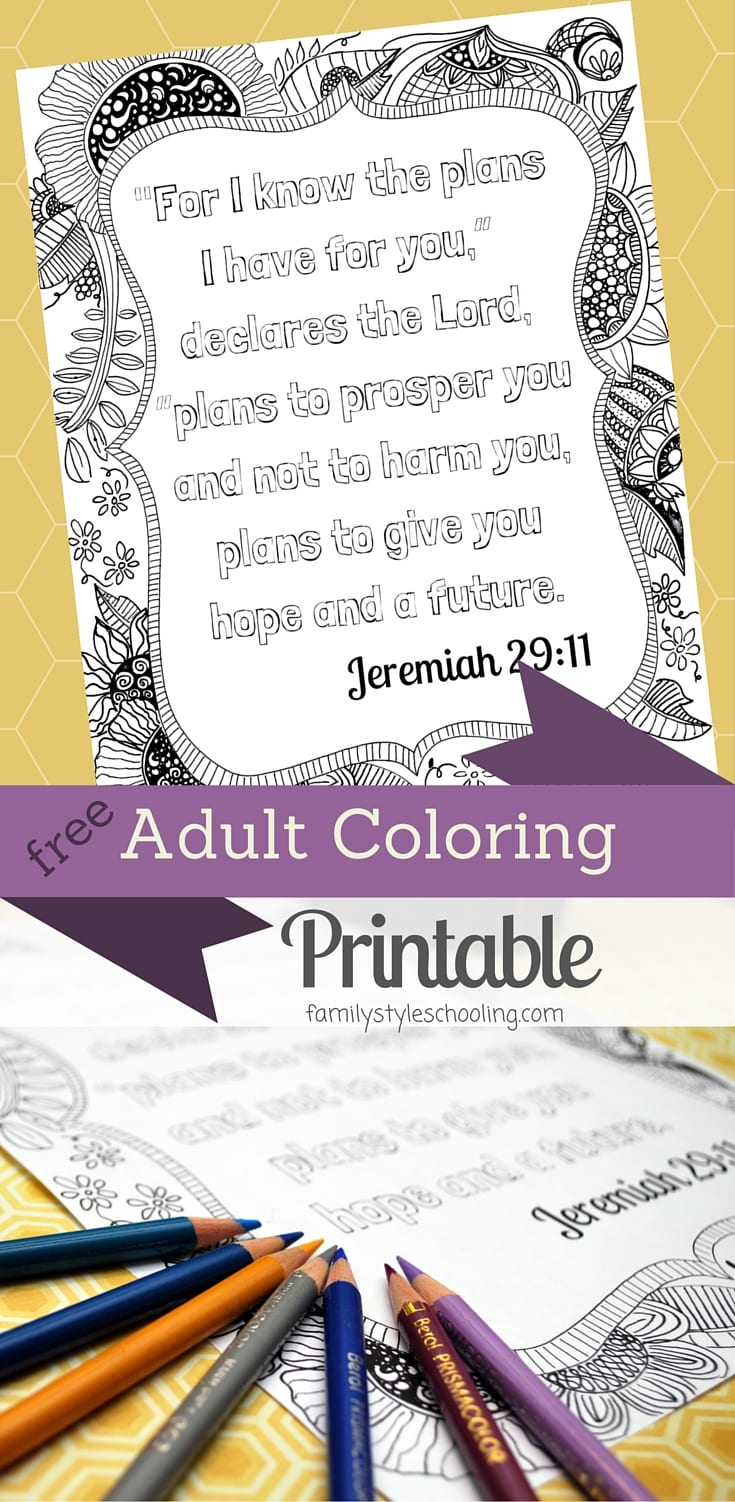 Adult Coloring Printable Jeremiah 29:11