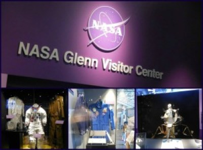 Top: The sign welcoming guests to the NASA Glenn Visitor Center. Bottom left: a real space suit. Bottom center: another suit. Bottom right: some awesome outer space thingy that I can't remember (I think it's an engine!)