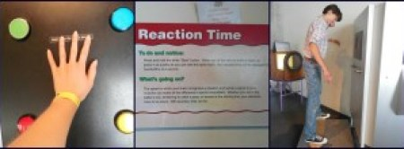 Right and center: the reaction timer. My lowest/best score was about 38 seconds. Left: my brother balancing on the balance timer/skateboard.