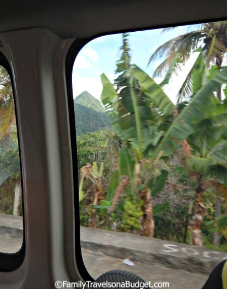 First glimpse of the Pitons St. Lucia