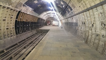 This platform - bricked up at either end - closed in 1917. It was used in the second world war as a bomb shelter, housing around 1500 people. It was also used as storage space for artworks from V&A and British Museum, and was home to the Elgin Marbles.