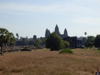 From inside the grounds of Ankor Wat, looking towards the main building