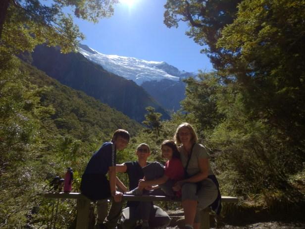 Family half way up glacier track.