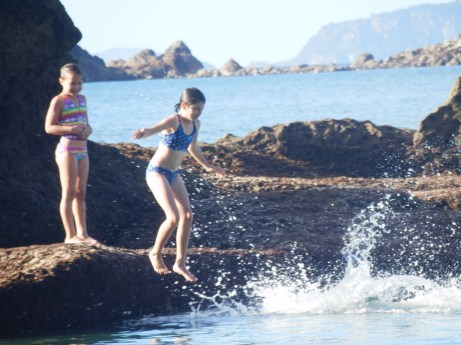 The Children swam out to this rock - a good 100m away and then had great fun jumping in.