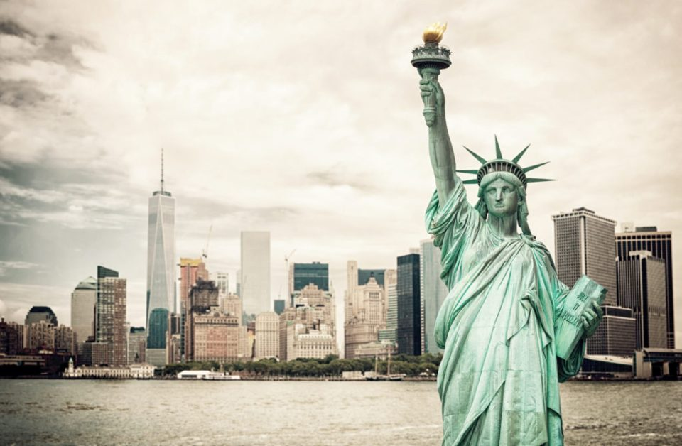 New York City and Liberty Statue, the big apple, symbol of freedom.