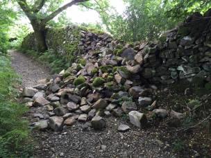 Damaged dry stone wall