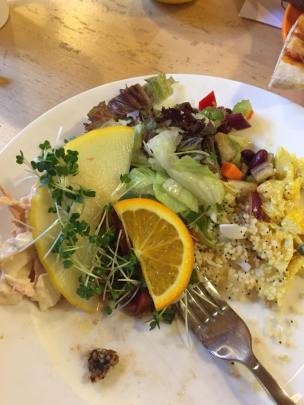 Half eaten,but the scrummiest salads at the Siskins Cafe at Whinlatter