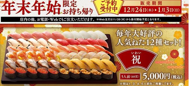 はま寿司の年末年始限定持ち帰りセット祝イメージ