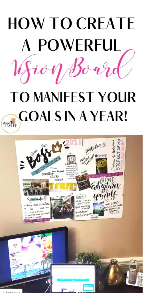 Step by Step process to create a vision board with awesome vision board ideas and ways to use the board to achieve your goals quickly