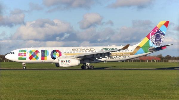 Etihad-Alitalia (2nd) A330-200 A6-EYH (14-Expo Milano 2015)(Grd) DUB (PQN)(46)-L (1)