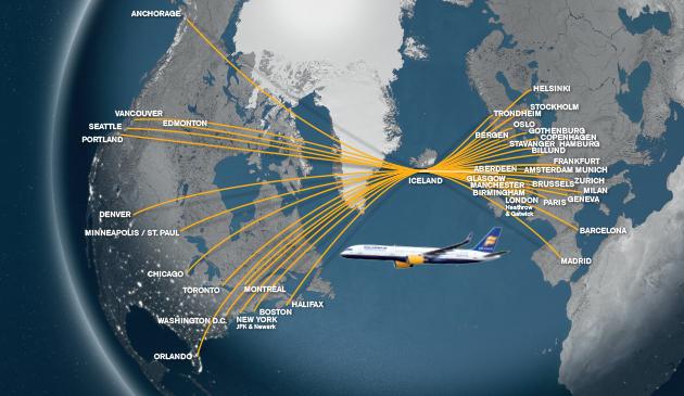 route map di Icelandair; con un punto di vista diverso è chiara la convenienza della rotta islandese da e verso gli USA