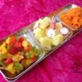 3 salades sur un plateau