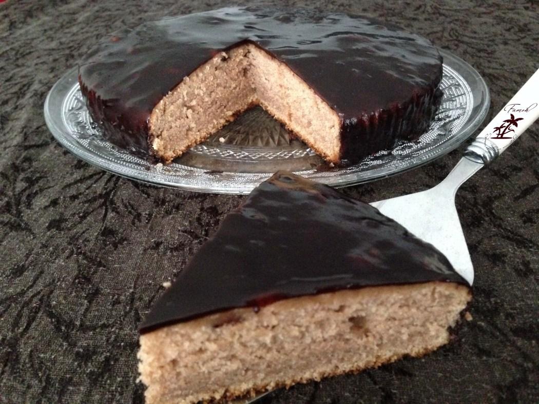 Gâteau Ardéchois au miroir chocolat.