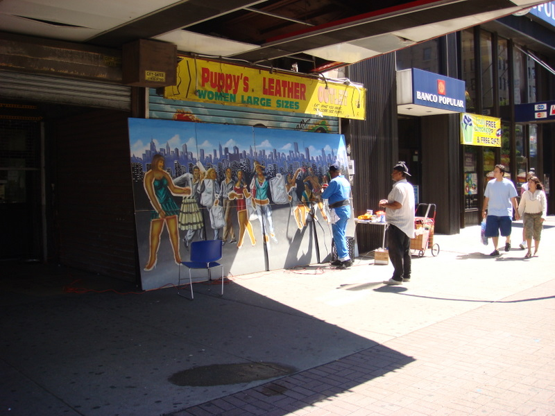 Franco the Great working on 125th Streetmural