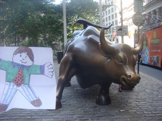 20090711 Flat Stanley 05 Wall Street Bull