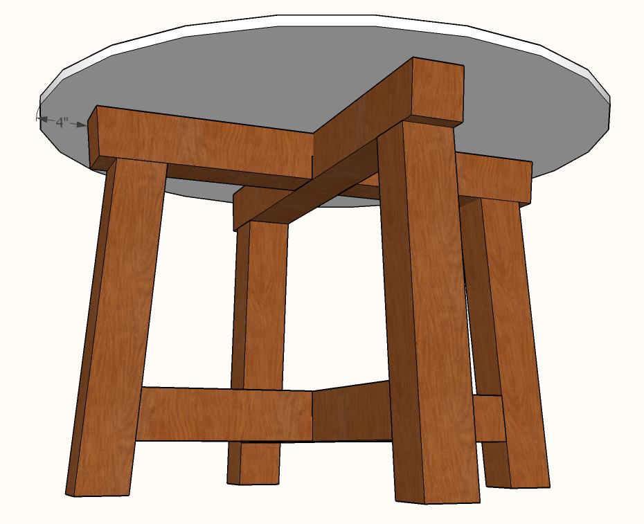 Diy Four Leg Round Table Plans Famous Artisan - How To Attach Table Legs Diy