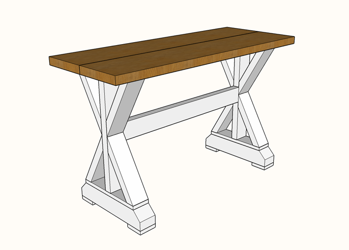 Diy X Base Sofa Table Plans Or Entry Table Famous Artisan