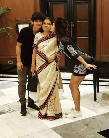Mouni Roy with her mother and brother