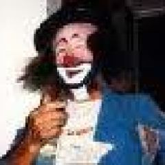 photograph of Mark Anthony in tramp clown makeup