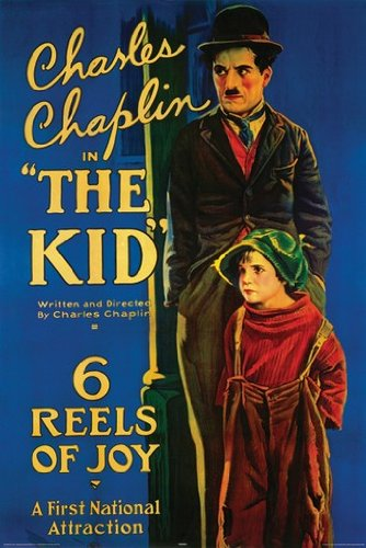 "Color art poster of Charlie Chaplin and Jackie Coogan in The Kid – ""This is the great picture upon which the famous comedian has worked a whole year – 6 reels of Joy."""
