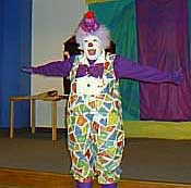 Bonnie Donaldson, AKA Squiggles the Clown, doing her Staff on Stage presentation; a good example of an elementary school presentation.