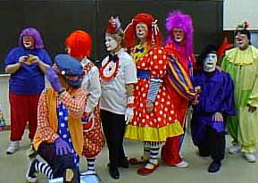 Moving on to happier thoughts: This is the Alley Kazam, the clown alley that I belonged to. They are, from left: Goofy Grape, the Happy Hippi (kneeling, waving), Pixie (red hair), Que Sera, Honey Bun, can't remember her name!, Bright Eyes, and Succotash.