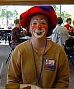 A very nice clown who found both a face and a name (Loopy) at Clown Camp. Note how the auguste clown makeup enhances her natural features, and doesn't hide them.