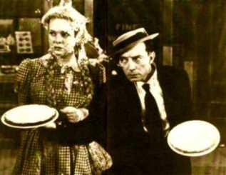 Buster Keaton demonstrates pie throwing