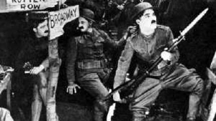 Charlie Chaplin in the trenches in his World War I film, Shoulder Arms