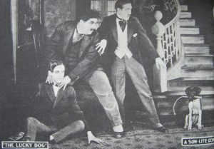 Publicity photo from Laurel and Hardy's first film, The Lucky Dog, 1919