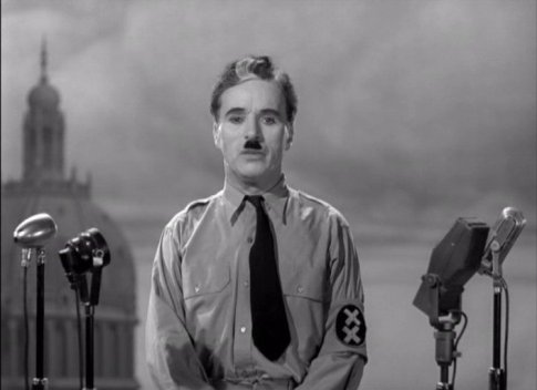 """The Great Dictator – Charlie Chaplin as the Jewish barber who impersonates The Great Dictator and gives the famous """"Look up, Hannah"""" speech"""