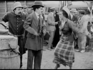Mabel's Busy Day, starring Mabel Normand, Charlie Chaplin