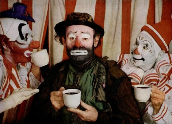 Photo of Emmett Kelly with Ringling Bros. Barnum & Bailey Circus. The photo was taken for an ad for the Pan-American Coffee Bureau, published in Life magazine, April 6 1953, page 49