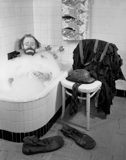 Ringling Circus clown Emmett Kelly in a bubble bath Sarasota, Florida