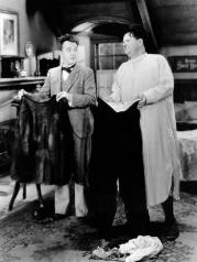 In Bonnie Scotland, Stan Laurel destroys Oliver Hardy's only pair of pants