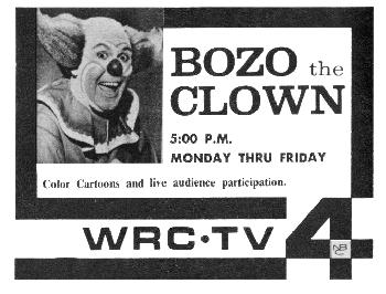 Willard Scott as Bozo, from TV Guide