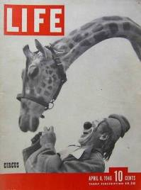 Lou Jacobs and giraffe on the cover of Life magazine