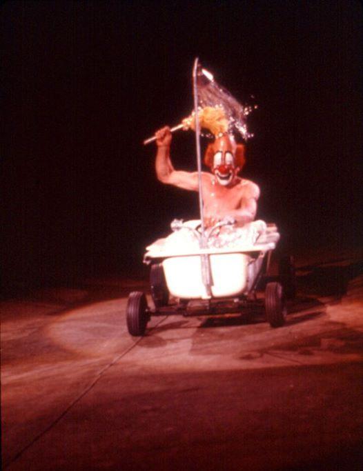 Lou Jacobs riding in his motorized bathtub