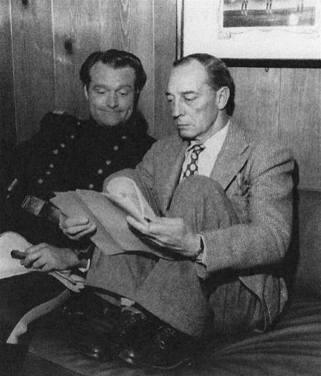 Red Skelton and Buster Keaton on the set of Southern Yankee